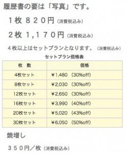 香川県三豊市・キング写真館の証明写真価格表